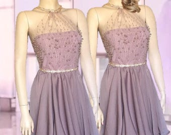 Bridesmaids Lace Pearls Bodice Crop-Top Two Piece Prom Bridesmaids Gown Two Piece Short Dress Chiffon Skirt Elegant Famous skirt formal