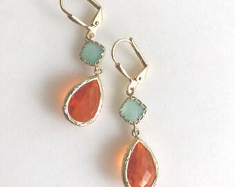 Orange and Aqua Dangle Earrings. Summer Wedding Jewerly. Fashion Earrings. Orange Aqua Earrings. Drop Earrings. Gift.