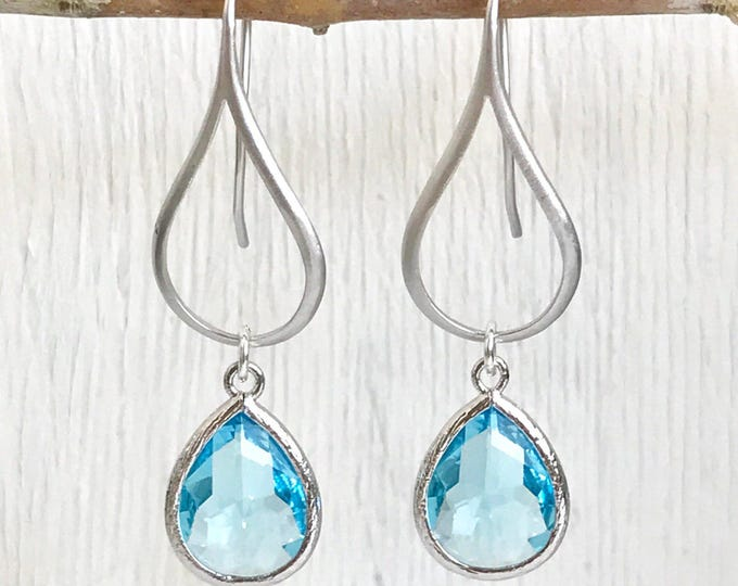 Drop Earrings.  Aquamarine Teardrop Drop Earrings in Silver.  Blue Dangle Earrings. Jewelry. Gift for Her.  Drop Earrings. Christmas Gift.