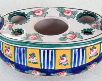 Aladin Ink Well With 3 Ink Pot Holes & 2 Quill Holes French Faience Pottery BEAUTIFUL CONDITION