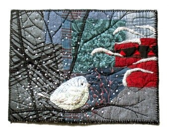 Winter bird original textile embroidered art