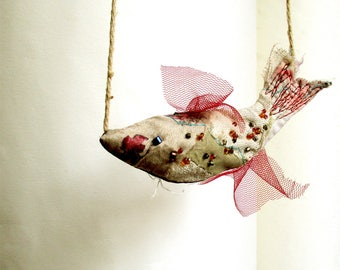 Hanging  Fish soft sculpture ornament in beige for modern bohemian home decoration