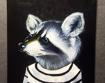 Raccoon portrait on a playing cards. 2016