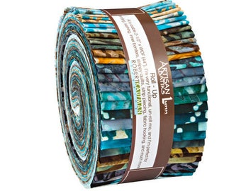 Kaufman Batik Fabric Strips Jelly Roll Rollup, Earth and Sky, RU-619-40 Quilting, Sewing