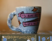 """Dumbledore """"It does not do to dwell on dreams"""" - Small, smoky blue mug - Hand-Painted Ceramic Mug"""
