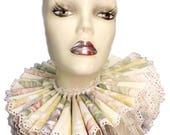 Ruffled Collar Floral Cotton Eyelet Tall Wide Elizabethan Neck Ruff Victorian Steampunk Edwardian