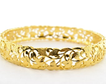 Solid 22K Yellow Gold 11mm Wide Bangle Bracelet
