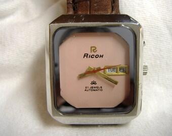 Vintage 1970s Men's Ricoh Day Date 21-Jewel Automatic Calendar Watch