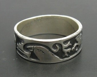 Sterling silver ring solid 925 eagle band pendant