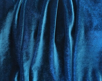 4-Way Stretch Velvet Fabric - Teal