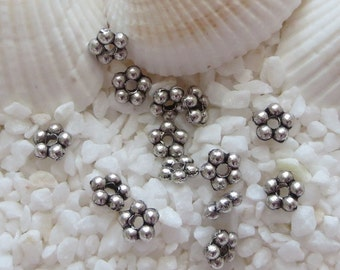 Spacer Flower Beads -  CHOICE of Antique Silver or Antique Brass - 4.5mm - 150 pcs