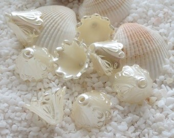 Acrylic Pearlized Texture Bead Caps - 11mm x 15mm - CHOICE OF 25, 50 or 100 pcs - Creamy White