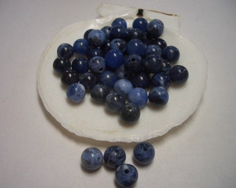 Natural Sodalite beads, round, blue, 6mm beads, A quality gemstone, 6mm gemstone, blue, white, Jeans colour, denim, natural beads, 6mm beads