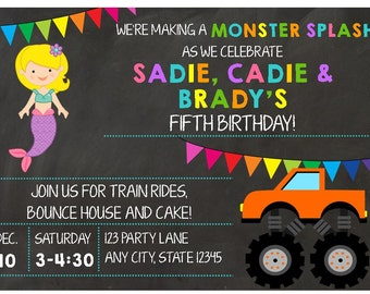 Monster Trucks and Mermaids Chalkboard Birthday Invitation for Twins, Triplets and Siblings