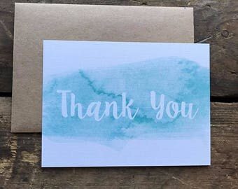 Elegant, Watercolor Thank You Cards with Envelopes, Calligraphy Font, Simple and Modern, Teal Aqua, Stationery Set