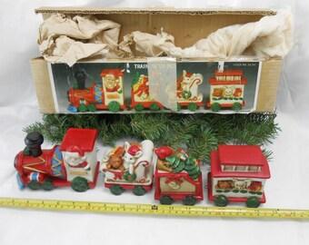 Vintage train set bisque Christmas train set 1970s ceramic train set Santa Express train set bisque train set Christmas train new old stock