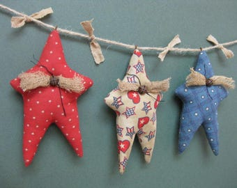 Americana Primitive Star Garland - 3 Grungy Fabric Stuffed Stars - Primitive July 4th Decor - Patriotic Garland - Red White Blue