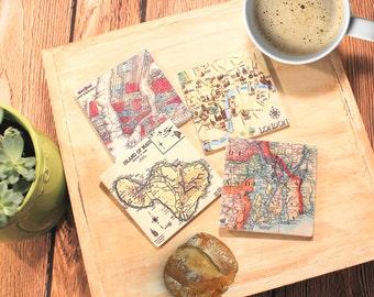 Custom Map Gift_Sandstone Tile Coasters_Absorbent Sandstone Tiles_Personalized Map Coaster_Housewarming Gift_Custom Hostess Gift_Home Decor