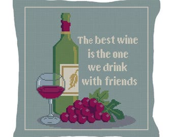 The Best Wine Needlepoint Pillow Canvas