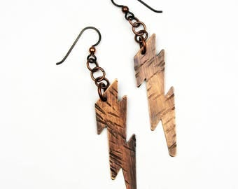 Lightning Bolt Earrings - Superhero Jewelry for Comic Book Readers or Weather, Science Lovers