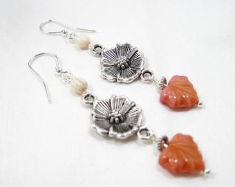 Czech Glass, Silver Flower & Maple Leaf Earrings
