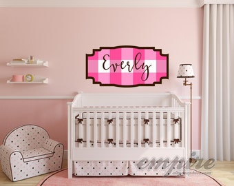 Pink Gingham Check Custom Name Decal, Framed Custom Nursery Decal, Personalized Name Checkered Wall Decal, Modern Name Decal, Monogram decal