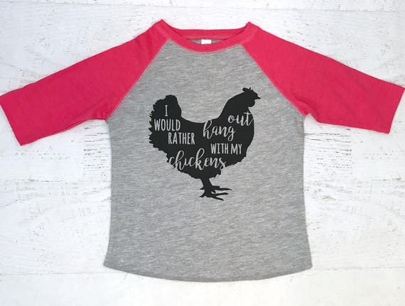 I just want to hang out with my Chickens Raglan Toddler baseball t-shirt Heather and Hot Pink with Black print