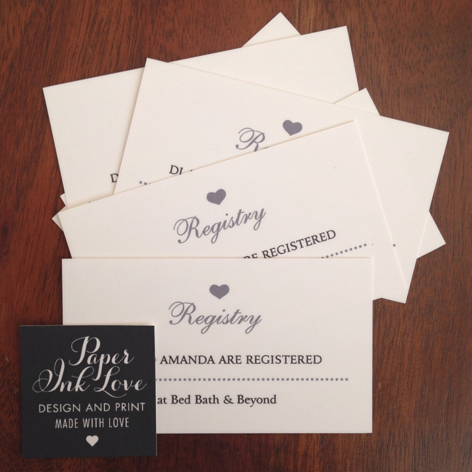 PRINT SAMPLE SILVER WEDDING REGISTRY ENCLOSURE CARDS – Gift Registry Cards in Wedding Invitations
