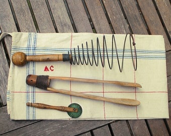 Vintage French Kitchen Utensils Collection and tea towel - Lot Wood Utensils - Wire Whisk Wood Tweezers Bakelite Dough Cutter Torchon