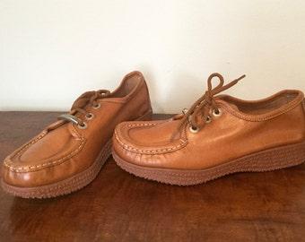 deadstock 1970s copper leather Famolares platform loafers US 6.5 / EUR 37 / UK 4.5