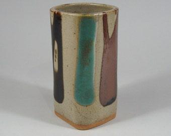 Mashiko Kilns Ceramic Vase Poured Glaze Decoration Japanese Mingei