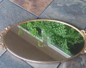 Filigree Vanity Tray/Vintage Mirror/Makeup Center/Vintage Decor/Metal and Mirror