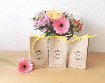 Wedding favour bags TALL-MINI personalised mini brown paper bags Size:16cm x 9cm x 5cm