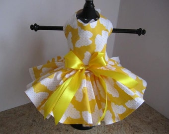 Dog Dress XS yellowwith Butterflies  By Nina's Couture Closet