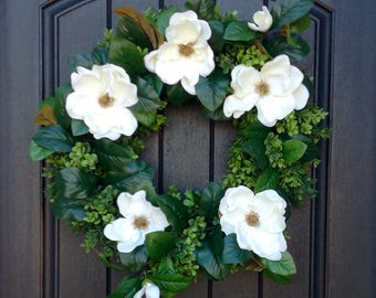 Spring Wreath-Summer Wreath-Grapevine Door Wreath-Boxwood-Magnolia Florals-Artificial Materials-Gift-Indoor/Outdoor Decoration