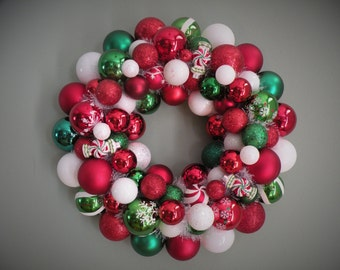 Christmas Wreath SPEARMINT CHRISTMAS Ornament Wreath Red, Green White