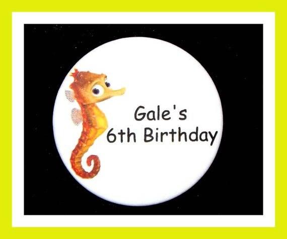 Birthday Party Favor, Personalized Button,Seahorse Pin Favor,School Favor,Kid Party Favor,Boy Birthday,Girl Birthday,Pin,Favor Tag Set of 10
