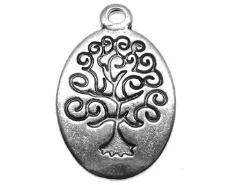 Silver Charms : 10 Antique Silver Tree of Life Charms / Round Tree of Life Pendants ... 24x14mm ... Lead, Nickel & Cadmium Free  9358.J5C
