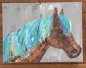 READY TO SHIP: Original 16x12 My Little Pony Art Horse Head Colorful Equine Pony Equestrian Art by MyImaginationIsYours