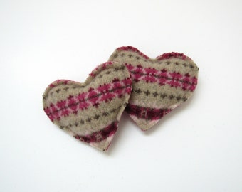 Pocket Hand Warmers Rose Pink Burgundy and Tan Fair Isle Hearts Felted Wool Rice Hand Warmers