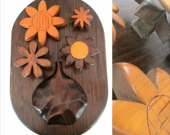 Wooden Flowers Wall Hanging Home Decor // Scarf Tie Hat Rack