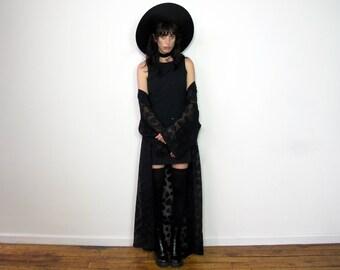 SEMI SHEER Vintage BLACK Robe Kimono Maxi Length Duster Goth 90s Womens Size L/Xl