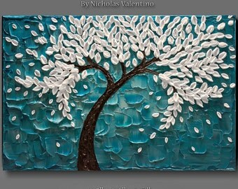 """Large 36""""x24""""x1.5"""" Original Blossom Tree Painting - Palette Knife - Impasto Textured Gallery Stretched Canvas * Turquoise * Teal * FREE S&H!"""