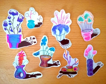 Plant in pots stickers