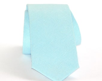 Aquamarine linen neck tie. Aqua blue tie standard or skinny made to order