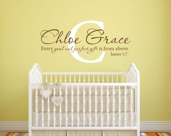 Girls monogram Every good and perfect gift Bible verse scripture vinyl wall decal sticker
