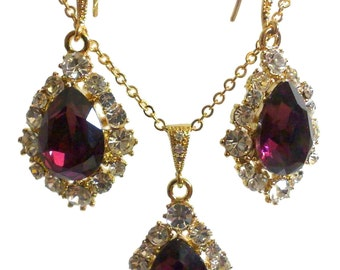 Purple Bridal Jewelry Set, Amethyst Bridesmaid Earrings, Swarovski Crystal Wedding Necklace, Gold Bridesmaid Jewelry, Gift for Her, BIJOUX