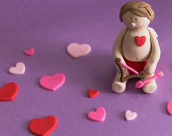 Fondant Baby Cupid and Hearts Cake Decorations Perfect for a Baby Shower, Valentine or Smash Cake