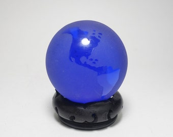 Vintage Cobalt Blue Glass World Globe Paperweight and Stand, Blue Glass World Globe Paperweight, Cobalt Blue Glass Art Glass Globe