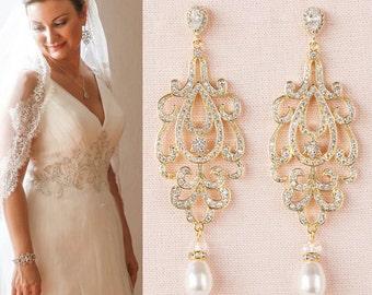 Gold Bridal Earrings, Crystal Wedding Earrings, Long Crystal Wedding earrings, Swarovski  Bridal jewelry, Katilee Earrings